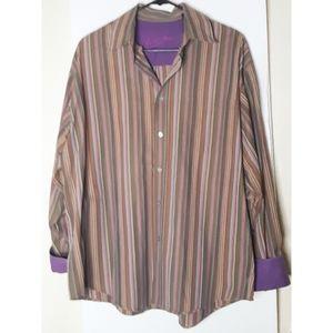 Bugatchi Vuomo Mens Button Up Shirt Purple Size L